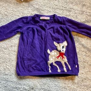 100% Cotton Purple Deer Cardigan Size 2T Button Up